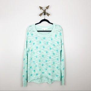 Green Knit Sweater with Stars Lauren Conrad Sz L
